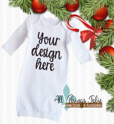 Baby Gown Mockup Photo - White Long Sleeve Clothing Christmas Mock-Up Image by AllThingsJolie78 on Etsy https://www.etsy.com/listing/481019380/baby-gown-mockup-photo-white-long-sleeve