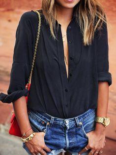 Black Lapel Long Sleeve Buttons Blouse 14.00