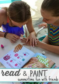 Read & Paint: Klutz Nail Art for Poolside Summer Fun With Friends Nail polish + friends = poolside fun and reading.