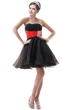 Vestido Corto Color Negro con Liga Roja