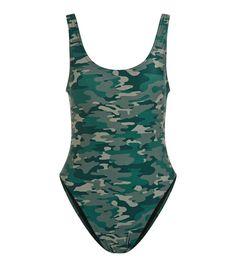 Maillot de bain échancré vert à imprimé camouflage | New Look