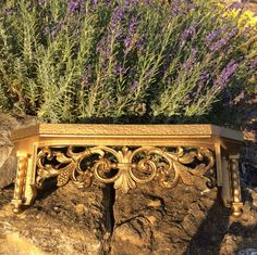 "Vintage Gold, Lrg.  Syroco,"" Fleur De Lis"" Style Shelf, Mid Century, Bohemian, Coastal Decor"
