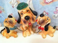 VERY RARE Vintage Antique Hound Dog Bobble Head Mama and Babies Hound Dog Family Collectible Figurines or Cake Toppers by MoonFaces on Etsy
