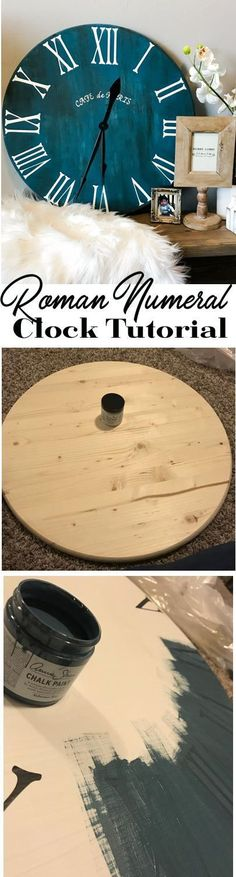 DIY Clock Tutorial - Home Décor - Farmhouse Annie Sloans Chalk Paint in Aubbuson Blue #Woodworking