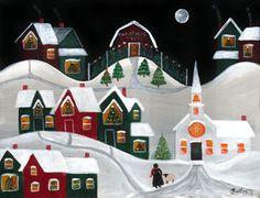 Christmas Tree Farm with Church Folk Art Painting