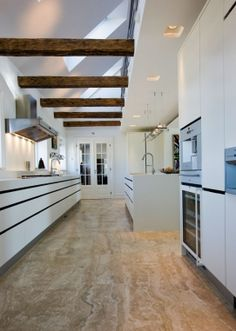 Kitchen from Danish www.dk Love the skylight with exposed beams Danish Kitchen, Exposed Beams, Scandinavian Living, Wet Rooms, Design Inspiration, Kitchen Inspiration, Danish Design, Kitchen Interior, Home And Living