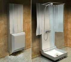 Collapsible bathroom design For those with limited space...converted shed...guest house??? Hmmmm