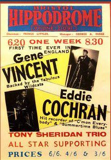 Eddie Cochran last gig Bristol 1960. My Auntie was at this show.