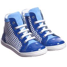 Simonetta Blue Patent Leather High-Top Trainers at Childrensalon.com