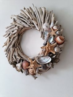 Driftwood summer wreath for front door,door hunger,beach decor,coasta,lake,driftwood candleholder,housewarming,wedding decor by DriftwoodAndPebbles on Etsy