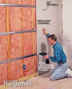 How to Soundproof a Room - Step by Step: The Family Handyman Love soundproofing, follow: soundproofcurtain.com Garage, ideas, man cave, workshop, organization, organize, home, house, indoor, storage, woodwork, design, tool, mechanic, auto, shelving, car.