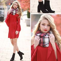 Multi Color Plaid Pattern Frayed Scarf from Cousin Couture.
