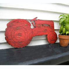 Farm Tractor Sign Boys Room Wall Decor Garden Country Farming sign wall art Barnwood Red. $88.00, via Etsy.