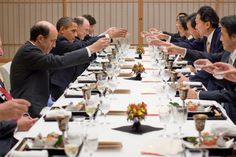 President Obama and the U.S. delegation toast with Prime Minister Yukio Hatoyama and the Japanese delegation at a dinner at the prime minister's official residence folowing their bilateral meeting and joint press conference in Tokoyo.11/13/2009.