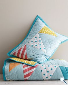 "Bunting quilt and pillow (want in ""his & hers"" coordinating colours)"