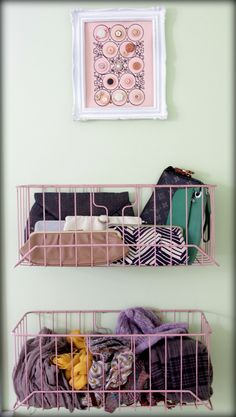 Baskets on wall for scarves, accessories, etc...THE BEST IDEA YET!