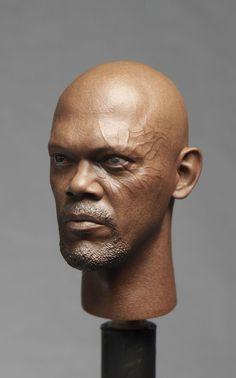 "1/6 America Captain Samuel Jackson Nick Head Sculpt For 12"" Male Fury Body model"