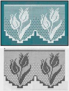 Afbeeldingsresultaat voor cortinas tejidas a crochet Filet Crochet Charts, Crochet Motifs, Crochet Borders, Thread Crochet, Crochet Doilies, Crochet Flowers, Crochet Stitches, Knit Crochet, Crochet Curtain Pattern