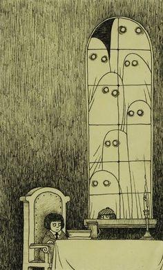 Is this an Edward Gorey illustration? No, it's Don Kenn (or John Kenn if you prefer, I've seen his name written both ways). Arte Horror, Horror Art, Art And Illustration, Monster Illustration, Kunst Inspo, Art Inspo, Don Kenn, Arte Obscura, Monster Drawing