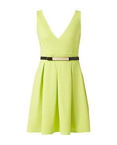 Robe patineuse vert citron à ceinture et col en V | New Look