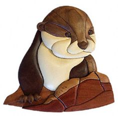 Baby River Otter Intarsia  Project Pattern