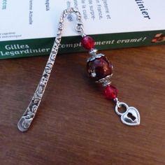 ♥ marque page métal argenté, perle rouge et coeur, saint valentin ♥