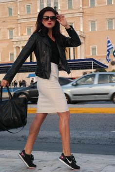 street style, black and white, white pencil skirt, leather, sneakers, sneakers outfit, black leather, style, fashion, blogger, dark lips, minimal, chic, spring outfit, spring style, Athens, Greece, spring street style, @thatgirlju
