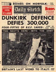 """Jun 4, 1940: Dunkirk evacuation ends & Winston Churchill delivers his famous """"We shall fight on the beaches"""" speech.  http://dingeengoete.blogspot.com/2013/06/this-day-in-history-jun-4-1940-dunkirk.html"""