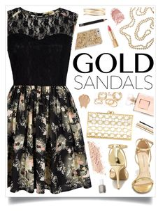 """""""Micro Trend:  Solid Gold Sandals"""" by charcharr ❤ liked on Polyvore featuring Mela Loves London, Wild Diva, JFR, Charlotte Olympia, Essie, Dolce&Gabbana, Cathy Waterman, Lane Bryant and Lord & Berry"""
