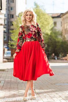 """Красное платье Миди """"MyAngel""""  Цветочный принт  /  Высококачественное дизайнерское летнее платье. Платье на выпускной."""