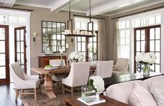 Modern French dining decor | rosé-beige dining- living room • home interior decoration