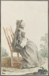 Isis' Wardrobe: 18th century mourning clothes  1759. I'm thinking this would be a good style for the first gown (minus the sacque).