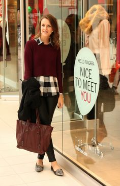 The Limited Niagara| Penny Pincher Fashion - burgundy sweater, black and white checkered shirt, black jeans