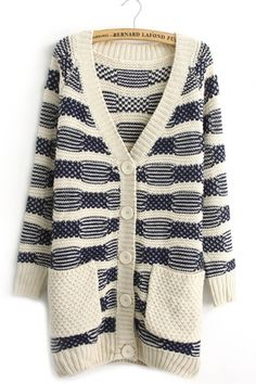 Stripe Constrast Color Sweater --just do the blue/white rows, skip the white stripes for an op art design