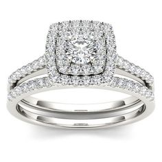 I prefer the three banded version but I could DEFINITELY make do with this! De Couer New York 10k White Gold 3/4ct TDW Diamond Double Halo Bridal Ring Set (engagement ring AND wedding band: $971.99 on Overstock.com) **Plus it comes in a cute little box with a bow! Click photo to go to site** My ring size is 7 future hubby wink wink haha