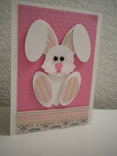 Easter card punch art - bunny on a pink background Happy Easter, Easter Bunny, Easter Card, Easter Greeting, Punch Art Cards, Creative Cards, Kids Cards, Cute Cards, Greeting Cards Handmade