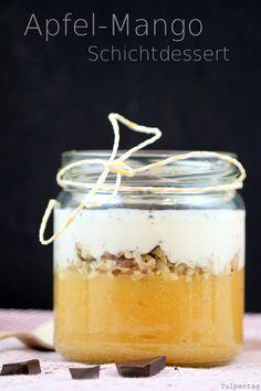 Tulpentag: Apfel-Mango-Schichtdessert #Quark #Obst #Nachspeise #Schokolade #Nüsse