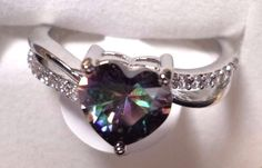 womens size 9 rainbow topaz heart ring 925 sterling silver #Unbranded #PromiseRing #Love