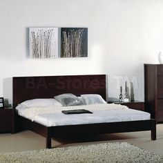 Etch Platform Bed In Wenge With Etched Lines On Faces By Beverly Hills Beds