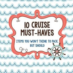 10 Cruise Must Haves: Items You Won't Think to Pack, but Should! disney cruise, crusing with disney Packing For A Cruise, Cruise Tips, Cruise Travel, Cruise Vacation, Disney Vacations, Vacation Trips, Family Vacations, Vacation Destinations, Vacation Ideas