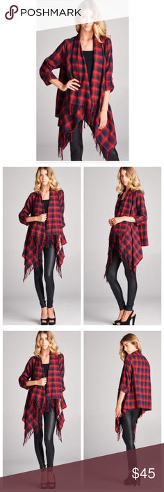 Chic plaid jacket Chic Open closure loose fit cardigan sleeves have functional roller tab and fringed hem soft fabric great style PLEASE USE Poshmark new option you can purchase and it will give you the option to pick the size you want ( all sizes are available) BUNDLE And SAVE 10% ( sizes updated daily ) Jackets & Coats