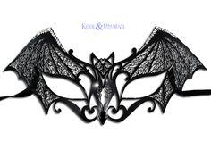 "Venetian Metal Lace Masquerade Mask: ""Gothic Bat"" Black, by Kool & Unusual (www.koolandunusual.com.au)"