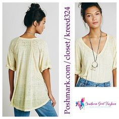 FREE PEOPLE Top Burnout Soft Tee V Neck Rolled Size Small.  New with tags. $58 Retail + Tax.  Slouchy, oversized tee, in soft burnout jersey.  Robbed v-neck with rolled short sleeves.  Subtle high low hem.  Sheer, unlined.  *We the free.  Polyester, cotton, rayon.  Imported.     ❗️ Please - no trades, PP, holds, or Modeling.    Bundle 2+ items for a 20% discount!    Stop by my closet for even more items from this brand!  ✔️ Items are priced to sell, however reasonable offers will be…
