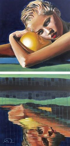 "Saatchi Art Artist Antoine Renault; Painting, """"Poolside"" (dyptich)"" #art"