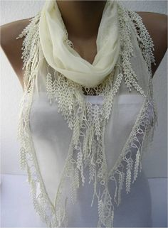 Beige scarf women scarves  guipure   fashion by MebaDesign on Etsy