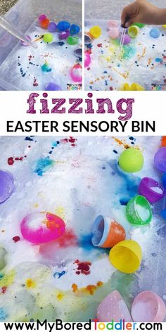 Our fizzing Easter Sensory bin for toddlers was SO MUCH FUN! I really think your toddler (and older kids too) will enjoy this Easter activity idea. Fizzing Easter Sensory Bin for Toddlers Fizzing sensory bins Easter Activities For Toddlers, Spring Activities, Easter Crafts For Kids, Infant Activities, Easter Ideas, Easter With Kids, Day Care Activities, Art Activities For Preschoolers, Bunny Crafts
