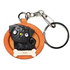 Genuine Leather Pug Black Leather Dog plate Keychain is made by skillful craftsmen of VANCA CRAFT in Japan. Black Pug Puppies, Leather Keyring, Yorkshire Terrier Puppies, Gifts For Pet Lovers, Happy Animals, Leather Craft, Pugs, Your Dog, Black Leather