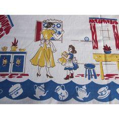 Larger Mothers Helper Novelty Vintage Printed Tablecloth (64 X 50)