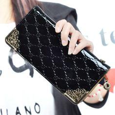 8f4b049f13d0 US $8.7  2016 fashion lady women Wallet purse long Zipper Purse pu leather  Luxury Clutch Wallets coin purses black red wallet for women-in Wallets  from ...