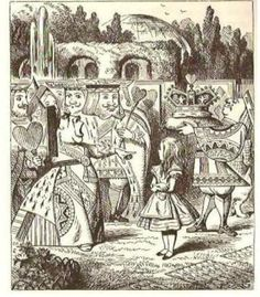"""""""Off with her head!  Off---""""  """"Nonsense!"""" said Alice, very loudly and decidedly, and the Queen was silent.  (early example of girl power!)"""